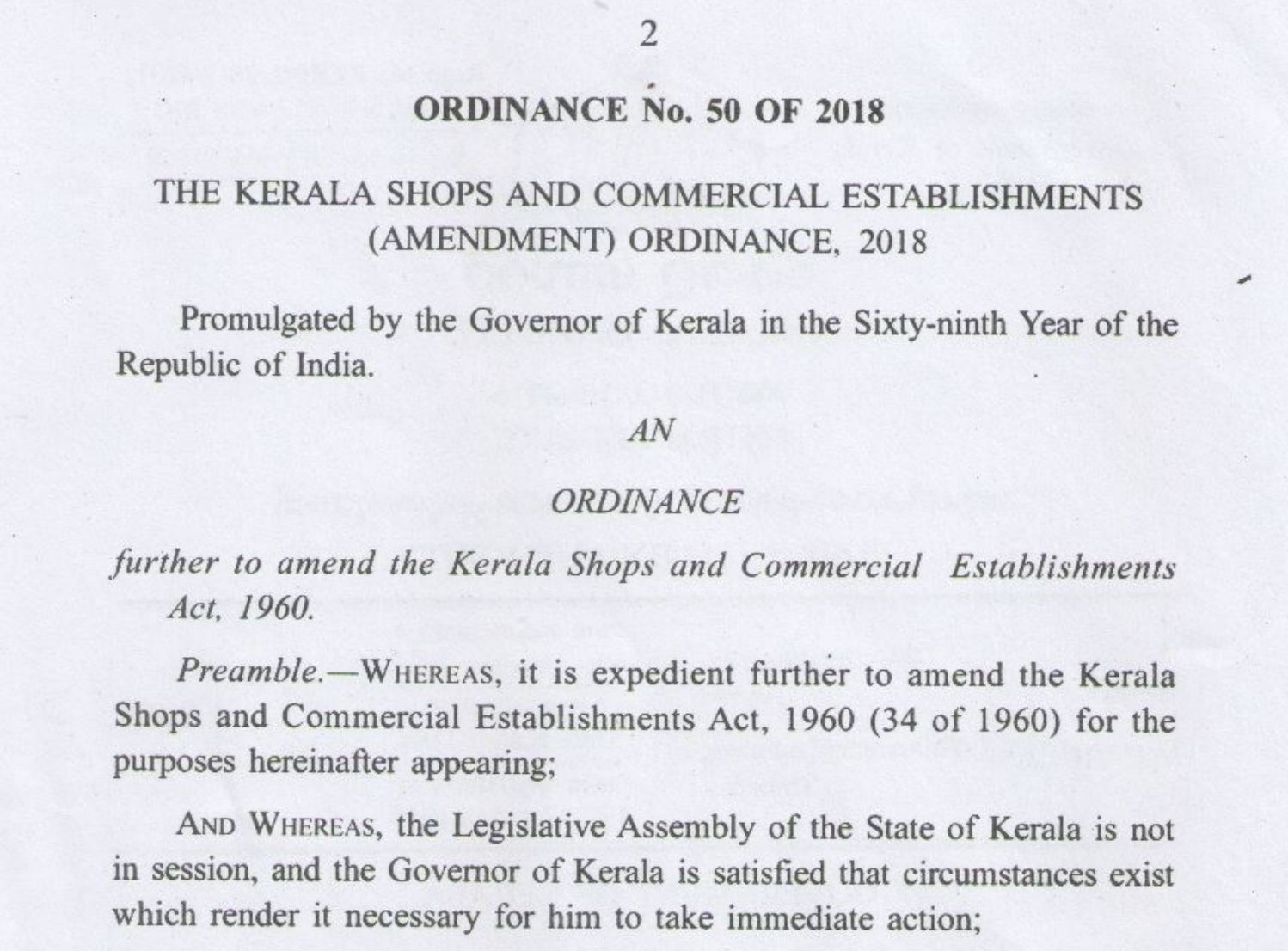Ordinance to make functioning easier: Kerala Shops and Commercial Establishments (Amendment) Ordinance, 2018